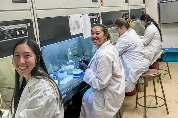 Students in lab coats sitting in the biotechnology facility
